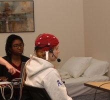 Aphasia researchs working with a patient